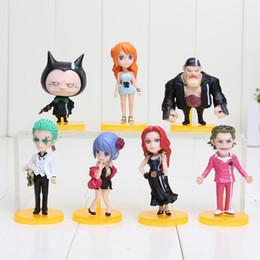 Conjunto de figura de uma peça nami on-line-7 pçs / set 6-7.5 cm Anime One Piece Filme Nami ZORO Tanaka Baccarat PVC Action Figure Modelo Toy