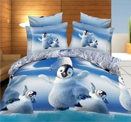 Wholesale Quilt Cover Sets Animal - Penguin Bedding sets 3D cute quilt duvet cover bed in a bag sheet bedspread linen doona bedset Animal print Queen size Full 4PCS