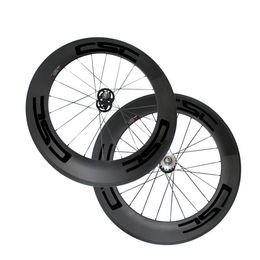 Wholesale Bike Hub Single Speed - 25mm Width Carbon Wheels 88mm Tubular Clincher Carbon Track Bike Wheels Fixed Gear Free Gear Single Speed Bicycle Wheelset A165 A166 Hub