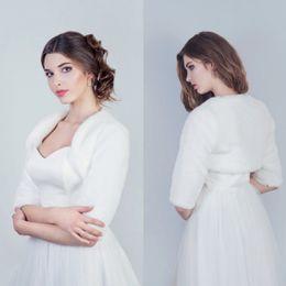 Wholesale half sleeve fur jackets - Wholesale Winter White Bridal Wraps Christmas Hooded Cloak Wedding Capes Halloween Half Sleeve Fur Jacket Bridesmaid Bolero Shawl