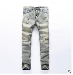 Wholesale Men Clothing Foreign - Men's foreign trade jeans break hole, fashion leisure cylinder, 2017 new men's clothing tide, nostalgic classic jeans