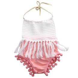 Wholesale 5t Christmas Outfit - Newborn Toddler Baby Girls Sleeveless Tassels Strap Romper cotton halter backless Jumpsuit Outfit Clothes