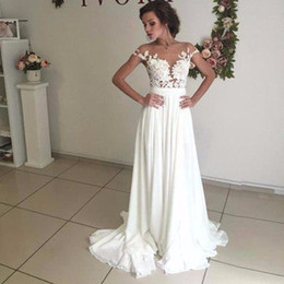 Wholesale Cheap Empire Line Tops - 2017 Chiffon Beach Wedding Dresses Cheap A line Empire Sexy See Through Top Lace wedding dress Appliques Garden wedding dress Plus size