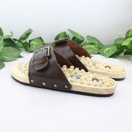 Wholesale Slimming Sports Shoes - Health Care Wooden Base Acupuncture Nail Health Sports Massage Shoe Natural Stone Acupoint Fitness Slippers