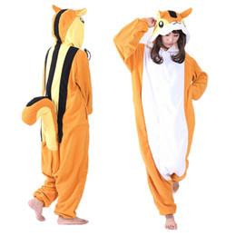 Wholesale Onesie Orange - Squirrel Cosplay Costumes Onesie Pajamas Kigurumi Jumpsuit Hoodies Adults Romper For Halloween Mardi Gras Carnival