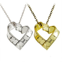 Wholesale Ruler Scale - Twisted Ruler Heart Necklace Silver Gold plated Scale Steel Measuring tape Love Heart Pendants Women Mother Fashion Jewelry Drop Shipping