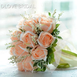 Wholesale green ribbon schools - High Quality Peach Rose Bridal Bouquet 18 Flowers Bridal Throw Flower Green Leaves Wedding 100% Handmade Bridesmaid Bouquet with Ribbons