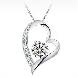 Wholesale Chain Slide - High quality Austrian crystal Diamonds Love Heart Pendant Statement Necklace Fashion Class Women Girls Lady Swarovski Elements Jewelry