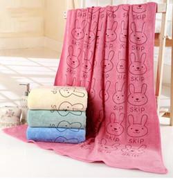 Wholesale Color Face Towels - 70*140cm Microfiber Bath Towel Washing Absorbent rabbit Printed Sports Travel children Large Bath Beach Towels 6 color KKA2823