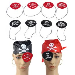 Wholesale Cyclops Eye Patch - Red Black Pirate Eye Patch Halloween Masquerade Supplies Skull Printed Cloth Cyclops Eye Mask Children Toys 0601686