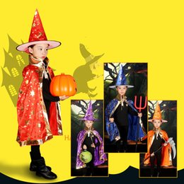 Wholesale Wholesale Seven Hats - 2017 New Wholesale Halloween supplies children's dressing dancers Seven colors cloak cloak cosplay witch hat clothing props