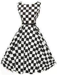 Wholesale hepburn style dresses - Black and White Plaid 50s 60s Vintage Dresses Summer 2017 A-line Pinup Audrey Hepburn Style Party Women Retro Rockabilly Dress