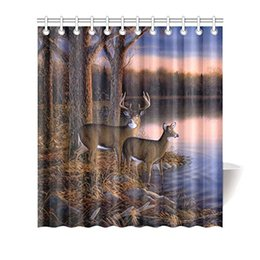 Wholesale rustic hooks - Rustic River Edge Tree Forest Deers Drink Water Polyester Fabric Shower Curtain Bathroom Sets with Hooks 66 X 72 Inches Standard