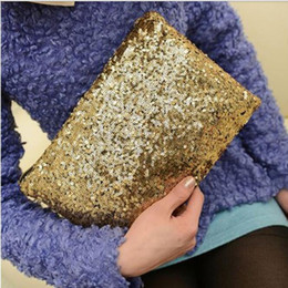 Wholesale Sequin Wedding Clutch - Women Lady Sparkling Bling Sequins Clutch bag Purse Wedding Evening Party Handbag Dazzling Glitter Wallet Makeup Bags Tote 9colors
