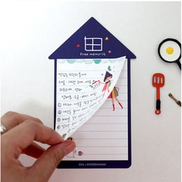 Wholesale Shape Sticky Note Pad - Wholesale- Cartoon Girls Print Memo Pads House Shape Memo Bookmark Marker Index Flags Cute Sticky Notes Massages Stickers