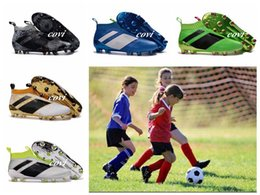 Wholesale Girls Youth Boots - 2017 Children Ace 16+ Purecontrol Soccer Cleats FG Kids Soccer Shoes Trainers Youth Ace 16 Boy Girl Football Boots For Woman With Box
