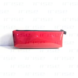 Wholesale Red Makeup Organizer - Fashion brand patent leather cosmetic case luxury makeup pen organizer bag beauty toiletry pouch red tote purse boutique VIP gift wholesale