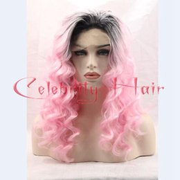 Wholesale Sexy Black Hair Women - New Synthetic Hair Products Ombre Sexy Synthetic Lace Front Wig Black To Pink Body Wave Two Tone Lace Front Wigs For Black Women