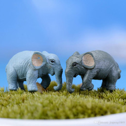 Wholesale Elephant Crafts - 2PCS artificial elephant fairy garden miniatures gnomes moss terrariums resin crafts figurines for home garden decoration