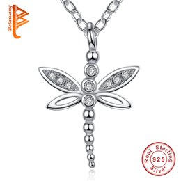Wholesale Dragonfly Pendant 925 Silver Necklace - BELAWANG Real 925 Sterling Silver Necklace CZ Dragonfly Charms Adjustable Link Chain Necklace Fashion Jewelry Wholesale Christmas Gifts