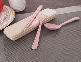 Wholesale Portable Plastic Cutlery Sets - Free Shipping New Arrival High Quality Portable Reusable Wheat Straw Spoon Fork Chopsticks Travel Cutlery Set environment-friendly Tableware