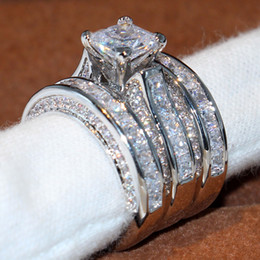 Wholesale Princess Cut Diamond Band - Size 5-12 Top Sparkling Luxury Jewelry 925 Sterling Silver Wedding Ring Princess Cut 3 IN 1 White Topaz CZ Diamond Women Band Ring Set Gift