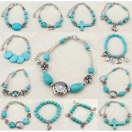 Wholesale European Beads Turquoise - Classical Cross Women's Retro Vintage Natural Turquoise Cute Tibet Silver Bracelet