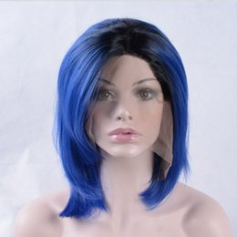 Wholesale Blue Bob Wig - new arrived 2T ombre hair short natural wave blue personality bob hair heat resistant synthetic lace front wig