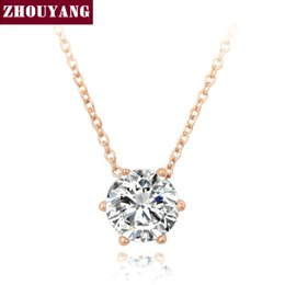 Wholesale Wholesale Nickel Free Necklace Chain - Wholesale-Top Quality Simple Six Claw CZ Rose White Gold Plated Nickel Free Pendant Necklace Crystal ZYN431 ZYN432