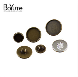 Wholesale Hair Crimping Beads - BOYUTE 30Pcs 10-20mm Cabochon Base Tray Vintage Antique Bronze Silver Fashion Hair Rope Jewelry Clasps CL0293