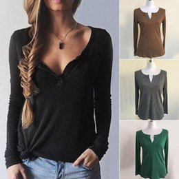 Wholesale Natural Cotton Thread - Brand New 2017 Fall Winter Thread V-neck Long Sleeve Sweater Casual Cotton Shirt Sweater for Women