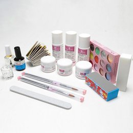 Wholesale Liquid Gel Nail Kits - Wholesale- Professional acrylic nail set, acrylic nails manicures tools kits & sets with liquid, brushes, powder and primer gel