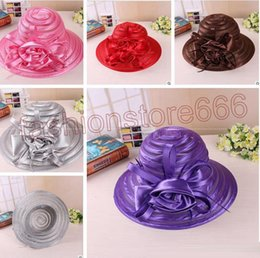 Wholesale Wide Brimmed Hats For Women - New Mesh Kentucky Derby Church Hats For Women High quality Organza Hat Wide Brim Flat Caps 5 Colors