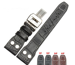 Wholesale Deployment Black Leather Strap - Wholesale- 22mm Black Genuine Leather Rivet Watch Band Strap Deployment For BRAND Big Pilot Free Shipping