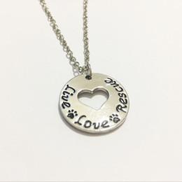 """Wholesale live cat - New Arrival """"Live Love Rescue""""pendant Necklace Heart pet Paw Print necklace Rescue Silver Dog Cat necklace Pet lover Jewelry"""