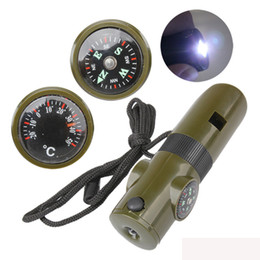 Wholesale Led Under Car Lights Kit - 7 in 1 Multifunctional Military Survival Kit Magnifying Glass Whistle Compass Thermometer LED Light Free Shipping