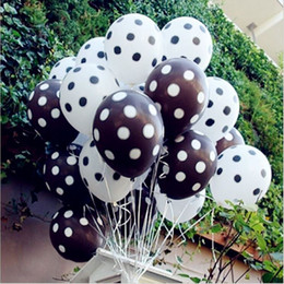 Wholesale polka dots birthday - 50 pcs lot 12inch 2.8g black red white Polka Dot balloon colors inflatable latex balloons for wedding birthday party decoration