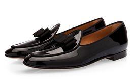 Wholesale Dinner Shoes - Newest Tangerine 3 Patent black belgian loafers Bowtie Men Shoes Handmade Luxurious Flats Men's Wedding Banquet soft calfskin dinner Shoes