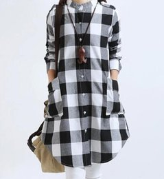 Wholesale Women Red White Plaid Shirt - New big size M-XXL long sleeve plaid women shirts long Linen comfortable stand collar women clothing for sale