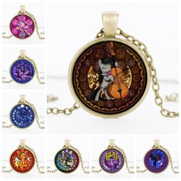 Wholesale play ponies - 2017 US Cartoon Pony Play the violin Rainbow Pony Pendant sign Necklace Fashion Time gem DIY Jewelry best gifts for kids Wholesale