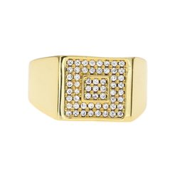 Wholesale Hiphop Diamond Jewelry - New Wholesale and Retail Drop Shipping Gold Plated Copper Ring Jewelry Women Men Hiphop Square Diamond Import Rhinestone Rings