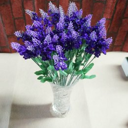 Wholesale Lavender Wedding Decorations For Home - Lavender Artificial Flower 10 Flower Heads 37CM Length Bouquet Silk Flower Colourful for Christmas Wedding Party Home Decoration 105 - 1007
