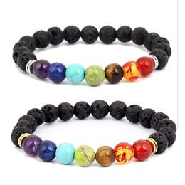 Wholesale Rocks Stones Gems - CSJA 8mm ladies men's natural black lava rock beads 7 chakra bracelet treatment energy stone meditation gem stone pony bracelet jo17
