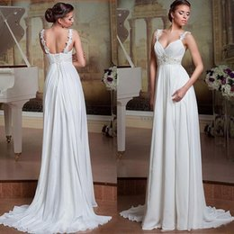 Wholesale Inexpensive Wedding Dress Chiffon - Inexpensive Elegant Beach Wedding Dress Beaded Lace Appliques Spaghetti Straps Chiffon Bridal Gowns with Corset Back Sweep Train Custom Made