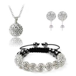 Wholesale Disco Balls Necklace Pendants - 2017 Fashion Shamballa Set Pendant Bracelet  Earring Jewelry Set With Disco Balls Wedding Jewelry Sets JST0001mix1