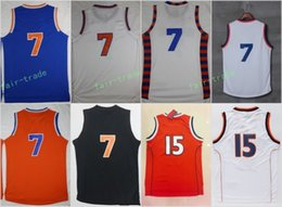 Wholesale Team Jerseys For Cheap - 2017 New 7 Carmelo Anthony Man Basketball Jerseys Cheap Throwback Jersey For Sport Fans All Stitched Team Blue Color Orange White With Name