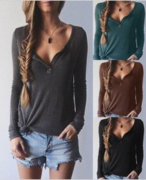 Wholesale Crochet T Shirt Color - Long Sleeved Sweater T-shirt Autumn and Winter Grey Black Thread V collar Women Casual V Neck Knit Pullover Sweater Tops ouc033