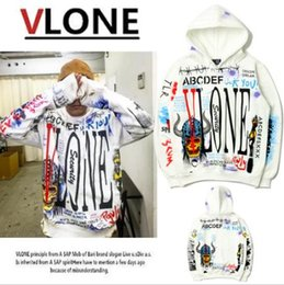 Wholesale Top Street Fashion Style Men - VLONE Hoodie Hip Hop Brand Clothing Tops A$AP V X Fragment Design Hoody Graffiti Loose Men Street Style Skateboard VLONE Hoodies