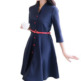 Wholesale Korean Fashion Dresses For Women - 2017 New Fashion Women Dress Spring A Line Office Korean Slim Party Club Dresses Buttons One-Piece High Quality For Women