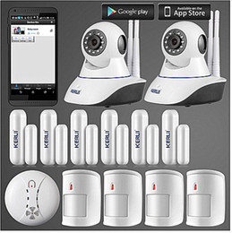 Wholesale Door Alarm Ip - LS111- KERUI 720P IP Camera WiFi Home Burglar Fire Alarm System PIR Motion Detectors+door open remind sensor+anti-pet pir detector